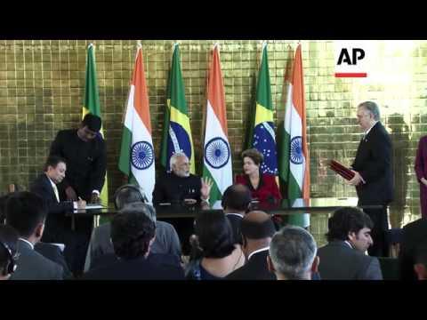 India PM Modi meets Brazil President Rousseff to sign bilateral cooperation treaties