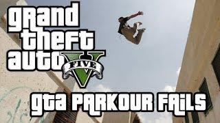 Grand Theft Auto V: GTA 5 Stunts & Crashes - Parkour Fails # 1 (German)