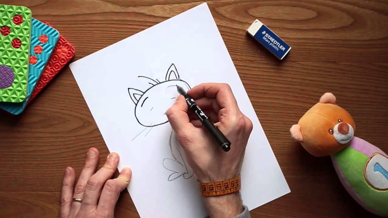Come disegnare un gatto disegni a matita per bambini for Come disegnare un piano di casa