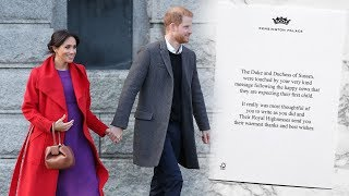 See Harry & Meghan's heartwarming thank you card after royal baby announcement