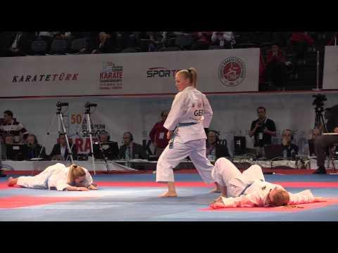 Female Team Kata GERMANY in the Final. Bunkai Kata Gankaku. 2015 European Karate Championships