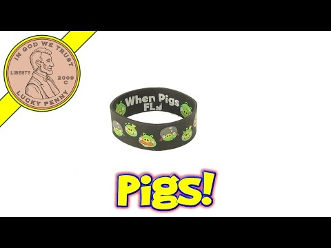 Angry birds when pigs fly wrist band stretch bracelet - green pigs