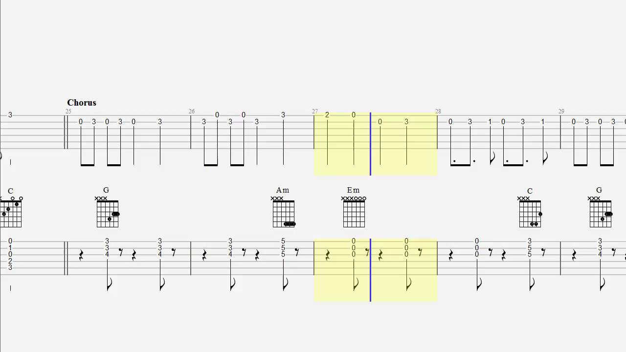 One guitar chords