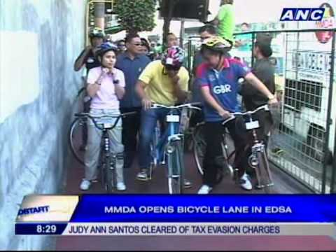 MMDA launches bike lanes in EDSA