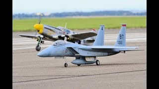 TJD DISPLAY TEAM RC JET & WW2 FIGHTERS - MULTIPLE AIRCRAFT DISPLAY AT THE BMFA NATS # 2 - 2017