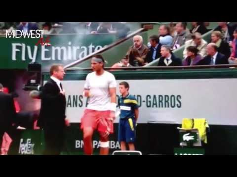 Rafael Nadal Vs David Ferrer - Crazy Guy Runs On Court With Flare at French Open 2013 [HD]