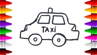 Car for kids | Taxi coloring pages | Learn color with car