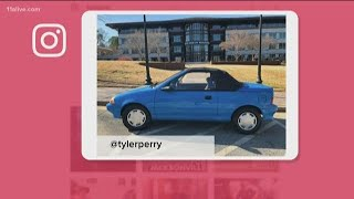 Tyler Perry parks blue car outside his studio as a reminder