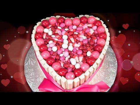 Heart Shaped Kit Kat Cake for Valentine's Day - Szív alakú Kit Kat Torta Valentin napra
