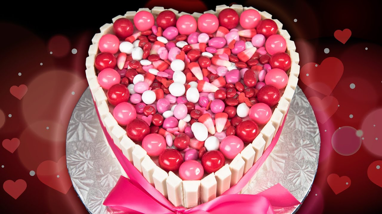 Heart Shaped Kit Kat Cake for Valentine's Day from Cookies ...