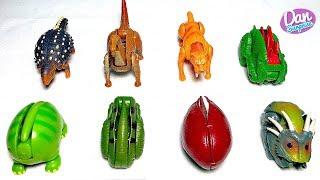 18 DINOSAUR TRANSFORMING EGGS TOYS for kids - Tyrannosaurus Rex Triceratops Stegosaurus