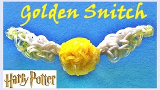 Rainbow Loom Golden Snitch (Harry Potter) Charm - How to make with loom bands