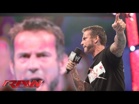 CM Punk challenges Brock Lesnar to a match at SummerSlam: Raw. July 22. 2013