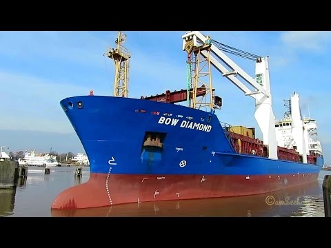 cargo crane seaship BOW DIAMOND ex ATLANTIC CARRIER ZDPP& IMO 9210323 Emden sealock timelapse