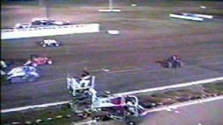 Fred Bryan flips sprint car over the fence