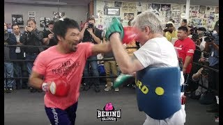 SCARY! HEAR MANNY PACQUIAO'S POWER SHOTS UP CLOSE!