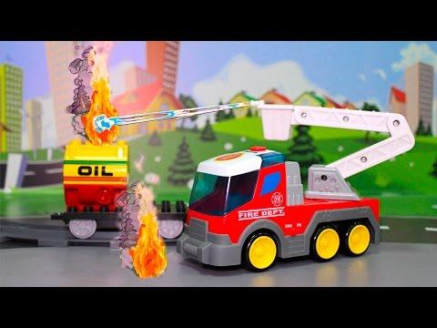 Мультики с игрушками про машинки - Пожарные машины и горящий вагон.