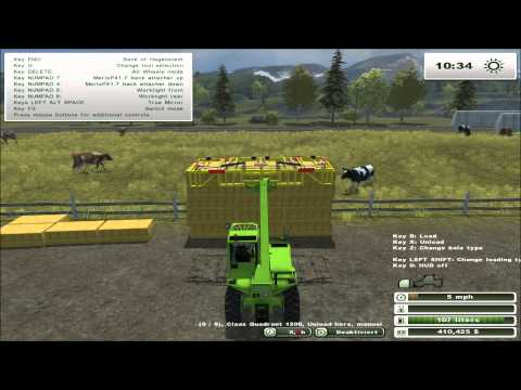 Farming Simulator 2013: How To Stack Bales Like A Pro - Using the Rambo Auto Collect Fork