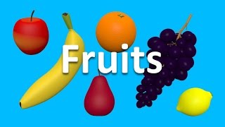 Fruits for kids children to learn. 3D animated picture show. Cartoons for babies. Learn English