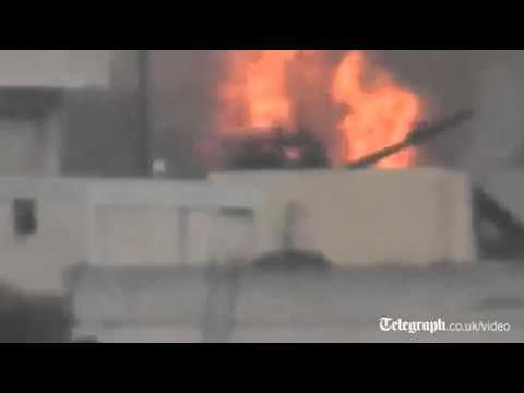 Free Syrian Army claim destruction of government tank. Amateur video posted ...