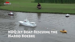 Jet boat rescuing a Graupner SK32 Harro Koebke 1.4m scale boat in distress!