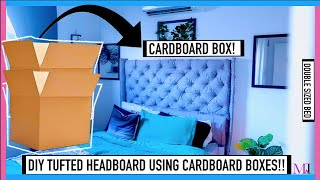 I MADE MY OWN DIY TUFTED HEADBOARD WITH CARDBOARD BOXES!! | MsTopacJay