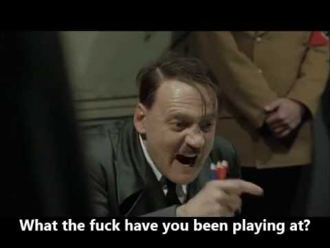 Hitler reacts to the flag coming down