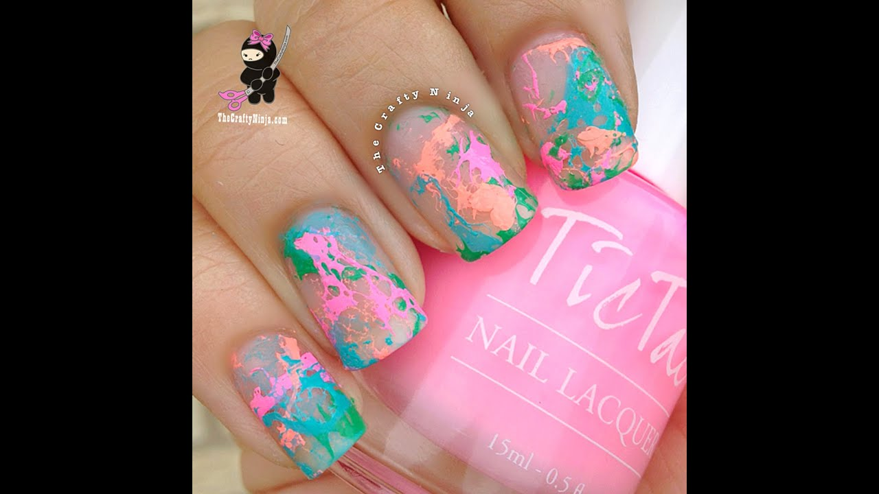 Neon Hairspray Spotted Nails