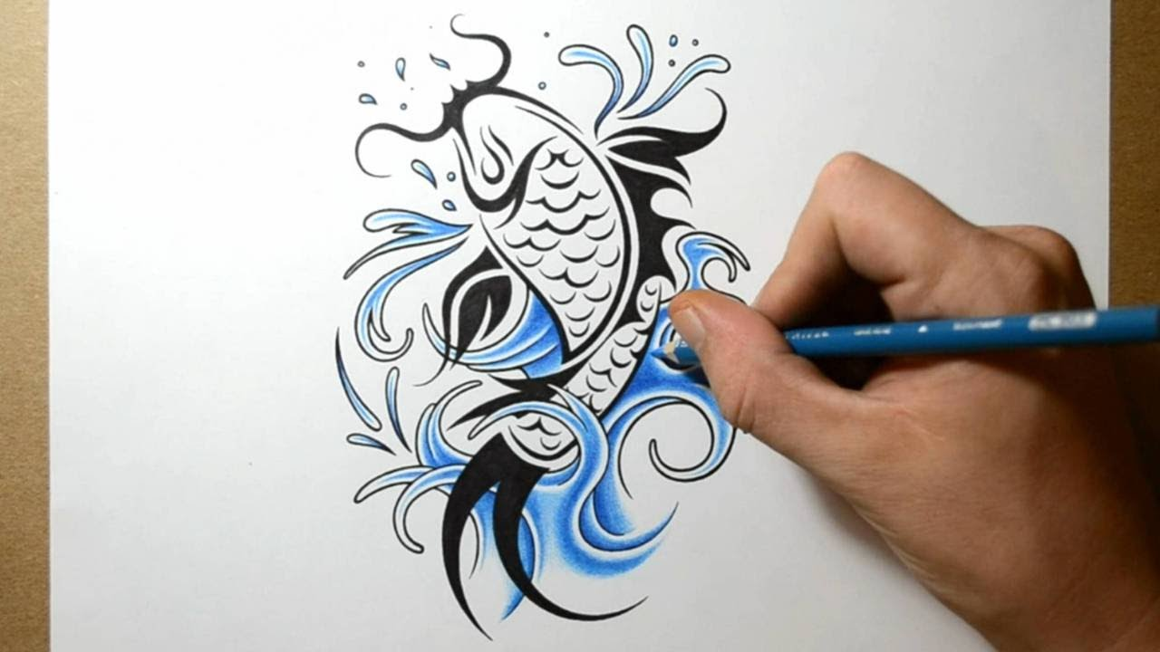 School Fish Drawing How to Draw a Koi Fish Tattoo