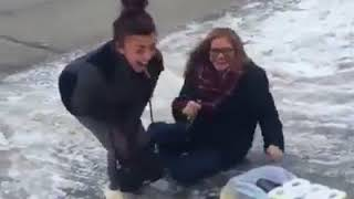 Funny People Falling on Ice Compilation | Very Funny  😂