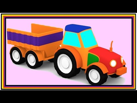 Magic Train of SHAPES - TRACTOR Construction Puzzle for Kids Cartoons!