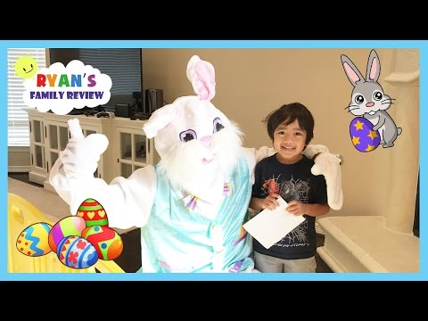 Easter Bunny visits Ryan's House and Family Fun Treasure Hunt for Surprise Easter Busket
