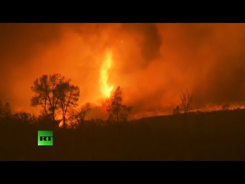 RAW: Massive wildfire ravages California countryside
