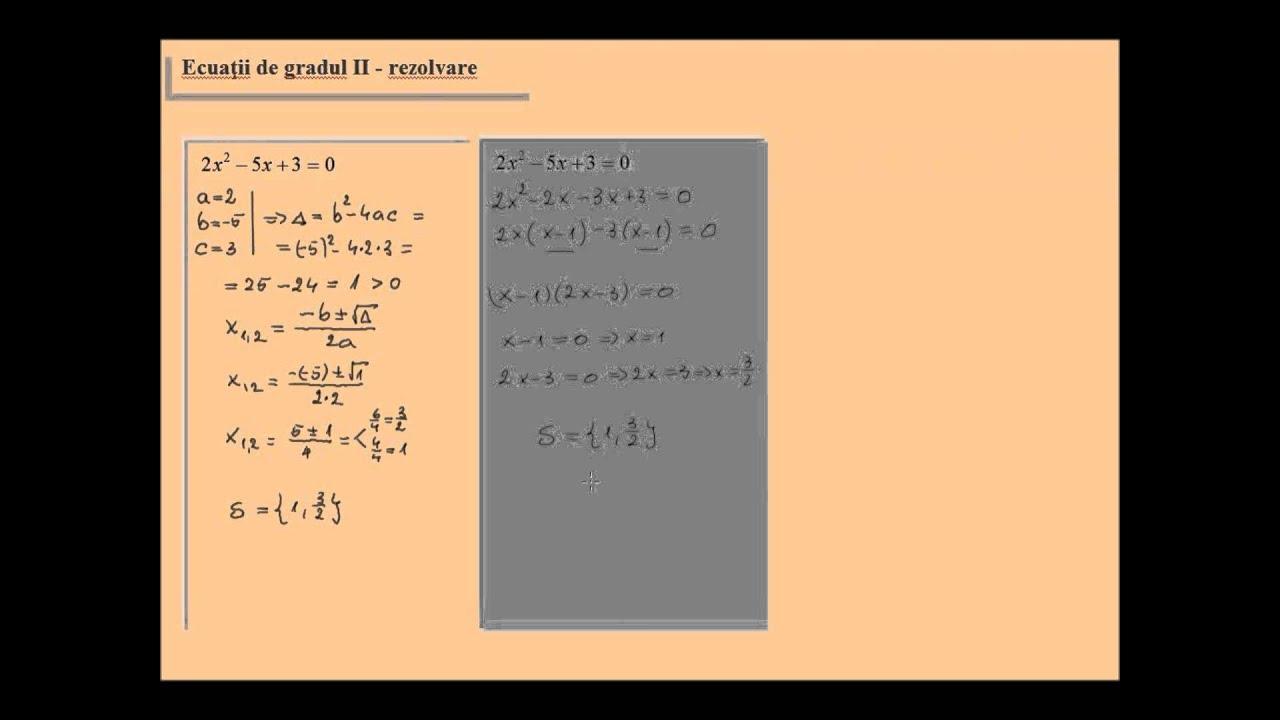 exemple de ecuatii de gradul 2
