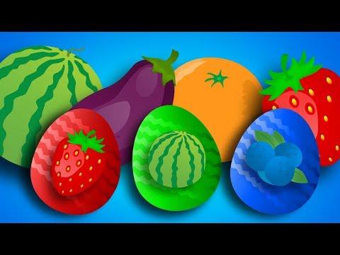 Яйца Сюрприз - УЧИМ название разных ФРУКТОВ. Открываем Киндеры с игрушками Маша и Медведь и др.