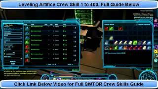 SWTOR Artifice Guide - Level Artifice Skill 1 to 400