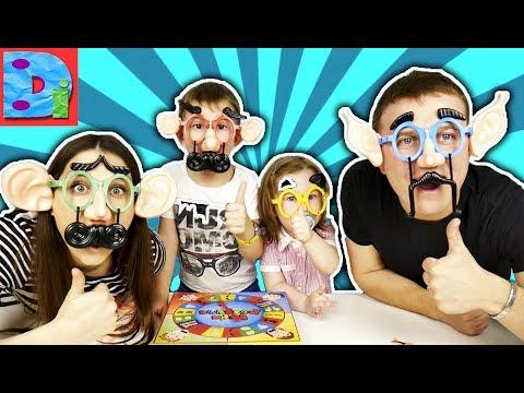 ВЕСЕЛЫЕ ЛИЦА Челлендж Игра ДЛЯ ВСЕЙ СЕМЬИ дети надевают на себя усы и очки как мама и как папа
