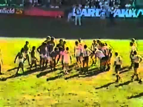 Massive fight (punch up) in the 1980 Brisbane Rugby League Grand Final Norths Devils v Souths Magpies at Lang Park. Mal Meninga, Ross Henrick, Billy Johnstone all involved.