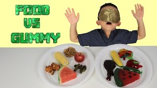 SURPRISE Real FOOD Vs GUMMY Kids Fun Challenge Giant Candy Sweets Yummy Food Tasting Game Ckn Toys
