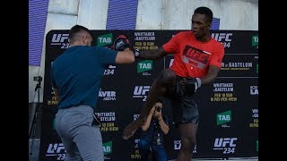 ISRAEL ADESANYA SHOWS PRO-WRESTLING MOVES AT OPEN WORKOUTS