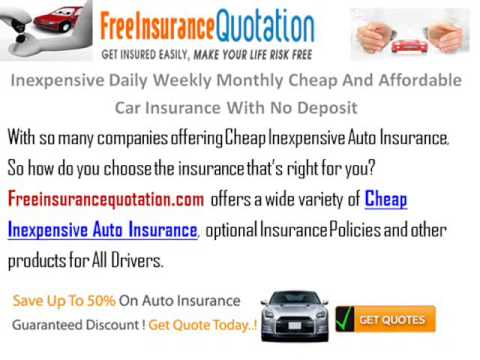Inexpensive Daily Weekly Monthly Cheap And Affordable Car Insurance With No Deposit No Credit Check