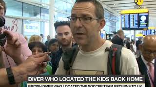 Return of a Hero: British diver who located the soccer team returns to UK