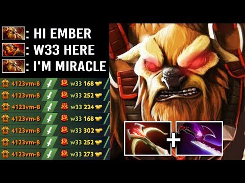 EPIC Miracle- Pro Earthshaker Mid vs w33 Ember Team Wipe Echo Slam Crazy Gameplay WTF Dota 2