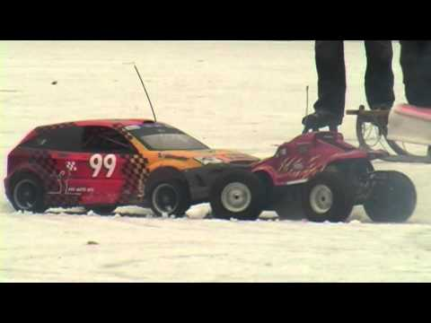 MCD Rally and Savage RC cars on ice