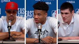 Giannis Antetokounmpo, Ilyasova & George Hill Postgame Interview - Game 2 | Raptors vs Bucks