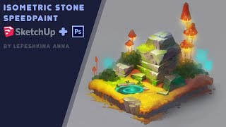 Isometric stone speedpaint (SketchUp and Photoshop)