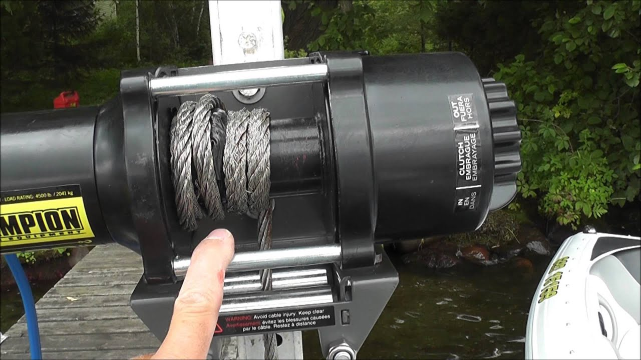Diy cheap motorized boat lift youtube for Electric boat lift motor