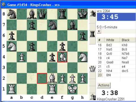 Chess World.net:  Blitz #361 vs vcs (2264) - Robatsch (modern) defense (A40) (Chessworld.net)