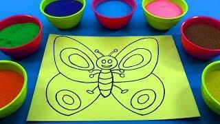 Nhạc thiếu nhi vui nhộn!Đồ chơi trẻ em - TÔ MÀU TRANH CÁT CON BƯỚM XINH! Colored Sand Painting