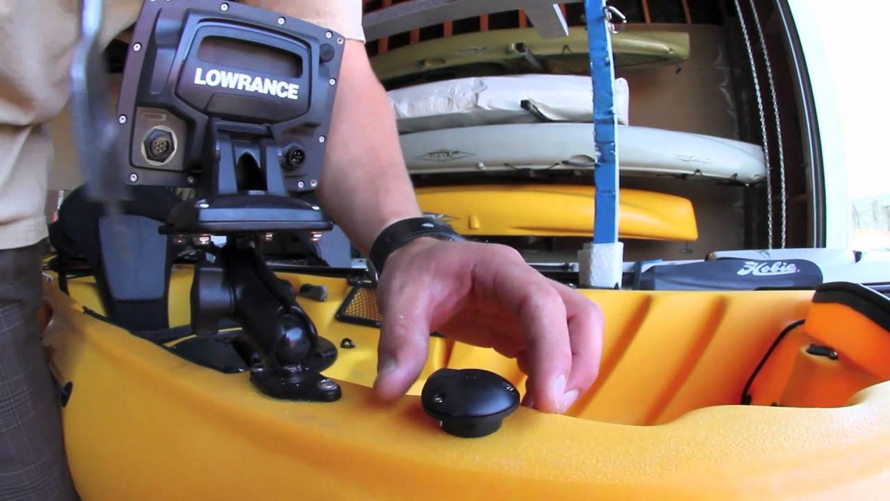 Large screen fish finder install by hobie kayaks youtube for Kayak fish finder install